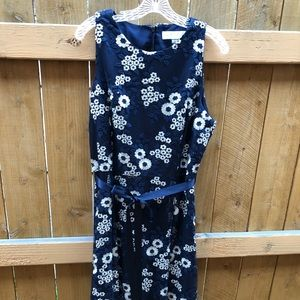 TAHARI Floral Embroidery Navy Holiday Dress
